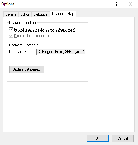 Options dialog - Character Map tab