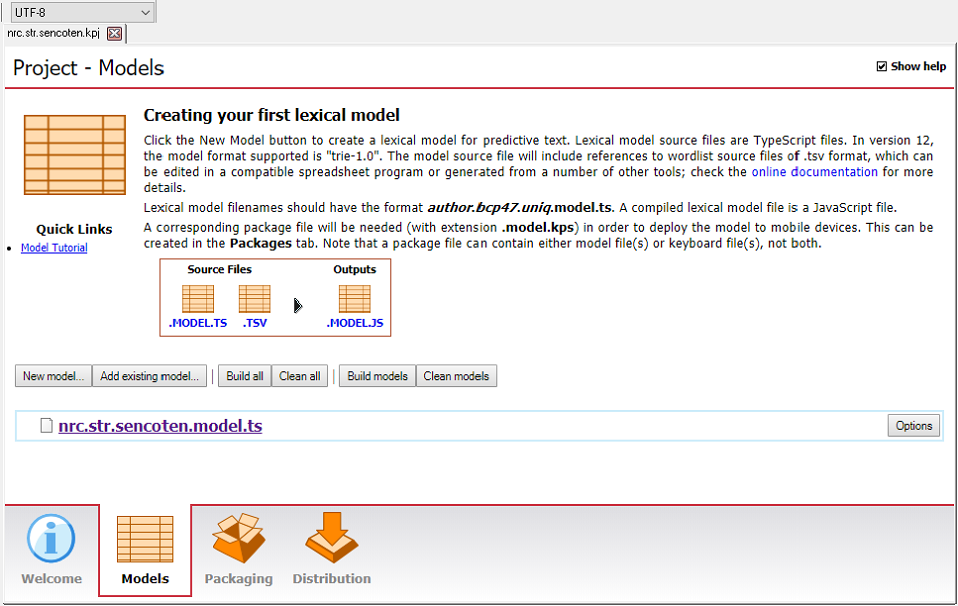 "The ""Project - Models"" tab in Keyman Developer"