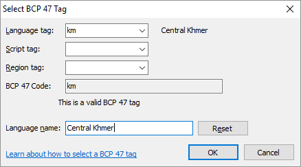 Package Editor - Select BCP 47 Tag dialog